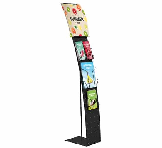 Présentoir multifonctions avec affiche • Largeur 24 cm