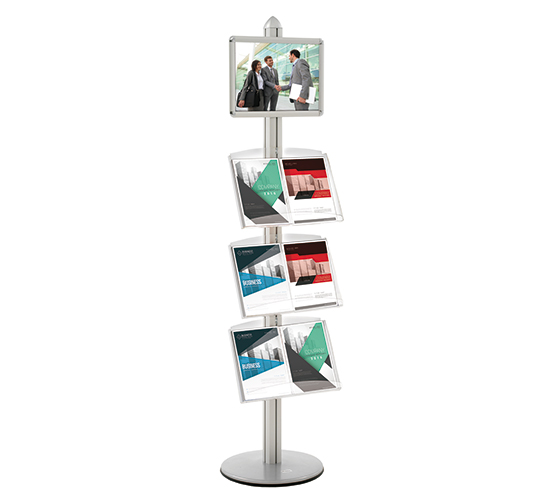Présentoir multifonctions recto avec cadre A3 et étagères • H 190 cm